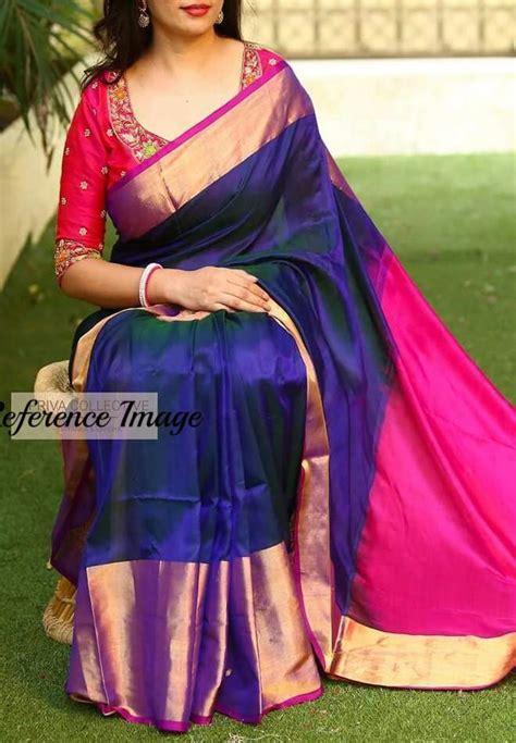uppada blue with pink handwoven silk saree with wide golden zari border in 2019