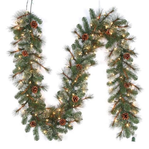11ft pre lit artificial christmas martha stewart living 9 ft pre lit led pine artificial garland x 165 tips