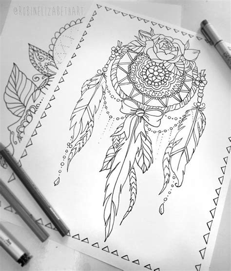 lace dream catcher coloring page instant  print