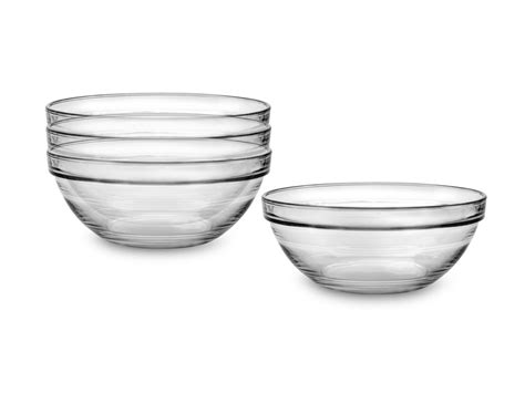 duralex lys  ounce nesting glass prep bowl set  piece cutlery
