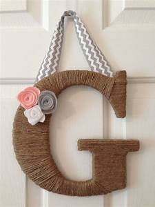 jute wrapped letter g felt flowers and ribbon baby pink With jute letters