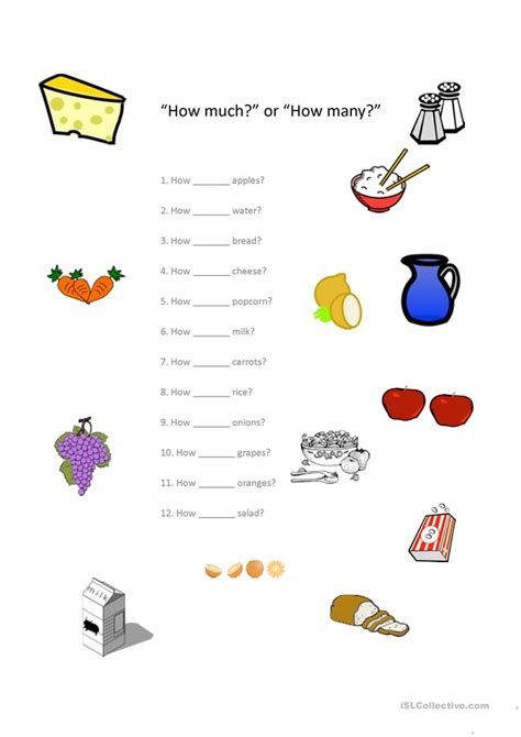 """""""how Much?"""" Or """"how Many?"""" Worksheet  Free Esl Projectable Worksheets Made By Teachers"""