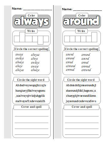 dolch second grade sight word worksheets kaylee s