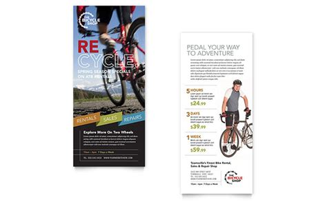 bike rentals mountain biking rack card template design