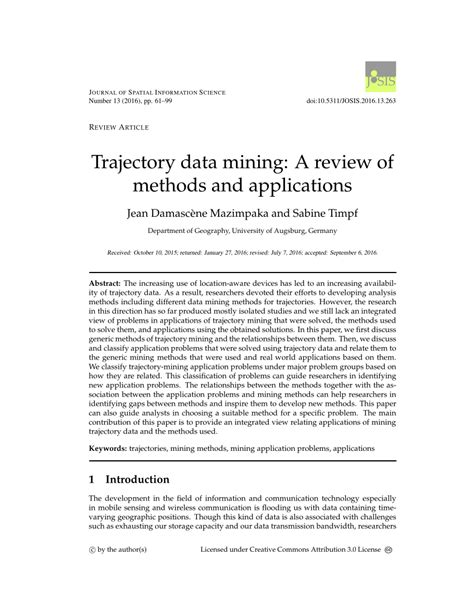 (PDF) Trajectory data mining: A review of methods and