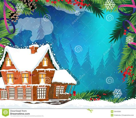 bungalow christmas house house in winter forest stock vector