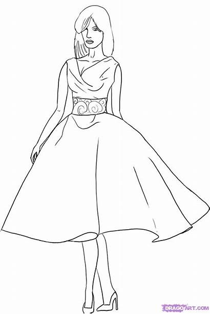 Draw Step Clothes Drawing Coloring Pages Dresses