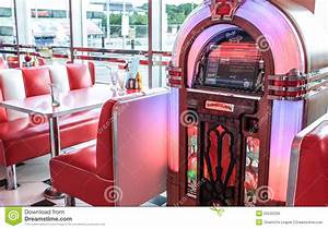 Fifties Style Lighting Retro Vintage American Diner And Jukebox Editorial Photo