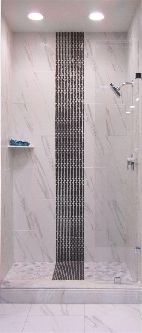 glass strip mosaic   shower thetileshop vertical shower tile remodel bedroom