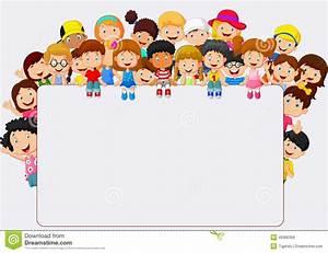Desenhos Animados Das Crianças Da Multidão Com Sinal Vazio ...
