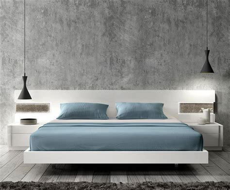 White Modern Platform Bed With Led