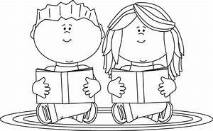 Black and White Reading Partners Clip Art - Black and ...