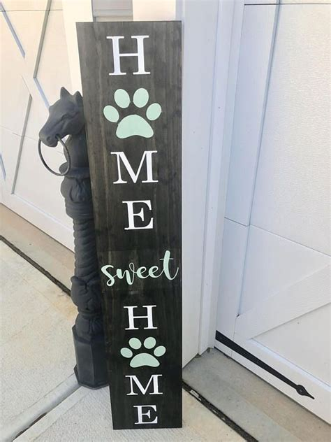 paw print front porch sign home sweet home  paw