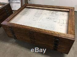 Antique Oak Hamilton Flat File Map Blueprint Cabinet