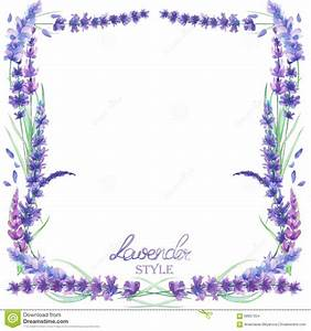 A Card Template, Frame Border With The Watercolor Lavender ...