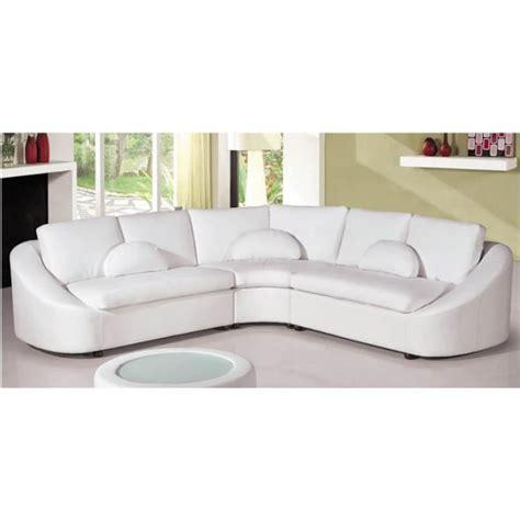 canapé 3 places convertible canapé d 39 angle design en cuir blanc arrondi achat