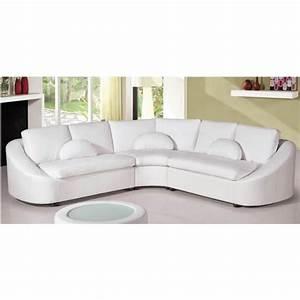 Canape Angle Cuir Blanc : canap d 39 angle design en cuir blanc arrondi achat vente canap sofa divan cuir ~ Teatrodelosmanantiales.com Idées de Décoration