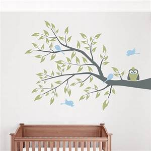 owl and four birds on a branch wall decal With wallums wall decals