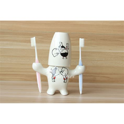cute ceramic  standing kids toothbrush holder
