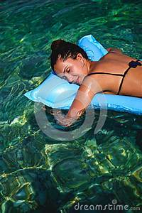 Girl Sleeping On Air Bed Floating In Water Stock Photo ...