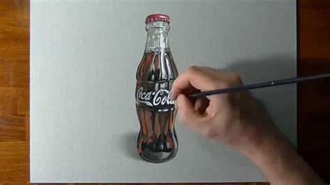 si e coca cola disegno realistico in timelapse bottiglia di cocacola