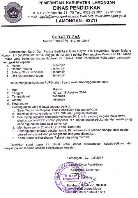 Contoh Surat Tugas Kerja by Surat Tugas Plpg Dan Pembekalan Peserta Plpg Universitas