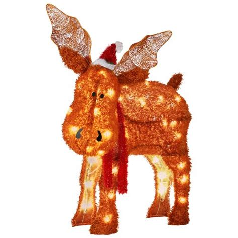 moose 60 inch lighted outdoor display gemmy fuzzyplus moose outdoor decoration with led white lights collections