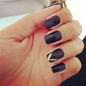 Black nails & gold accent | Nails | Pinterest | Gold ...