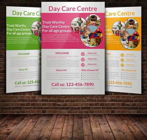 daycare flyer templates flyer templates creative market 871 | flyer mockup style1