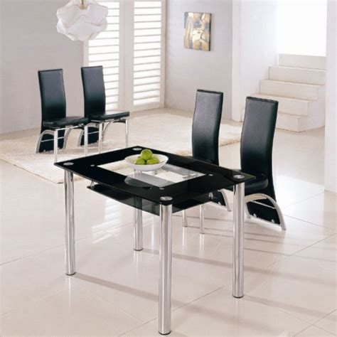 rimini small dining table with 4 g501 black dining chairs