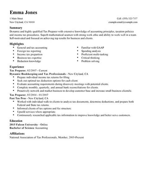 Tax Preparer Resume Objective by Best Tax Preparer Resume Exle Livecareer