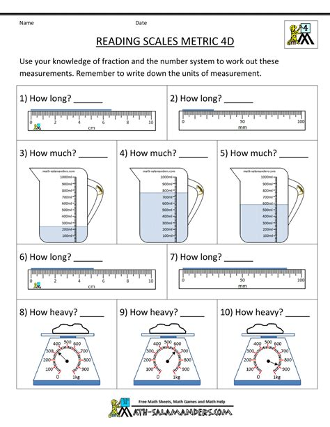 worksheets for 4th grade 4th grade measurement worksheets