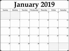 Download January 2019 Blank Calendar Templates March