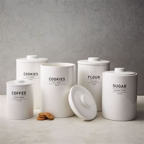 White Ceramic Kitchen Canisters by Utility Kitchen Canisters White West Elm