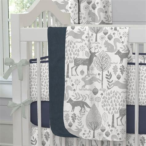 Woodland Creatures Nursery Bedding by Gray Woodland Animals Fabric By The Yard Gray Fabric