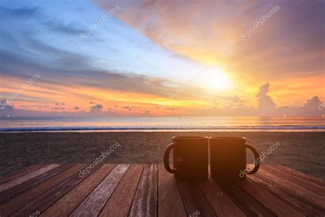 images sunrise  coffee coffee cup  wood table