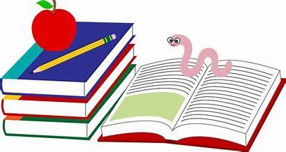 Books Clip Pencil Apple Clipart Bookworm Cartoon