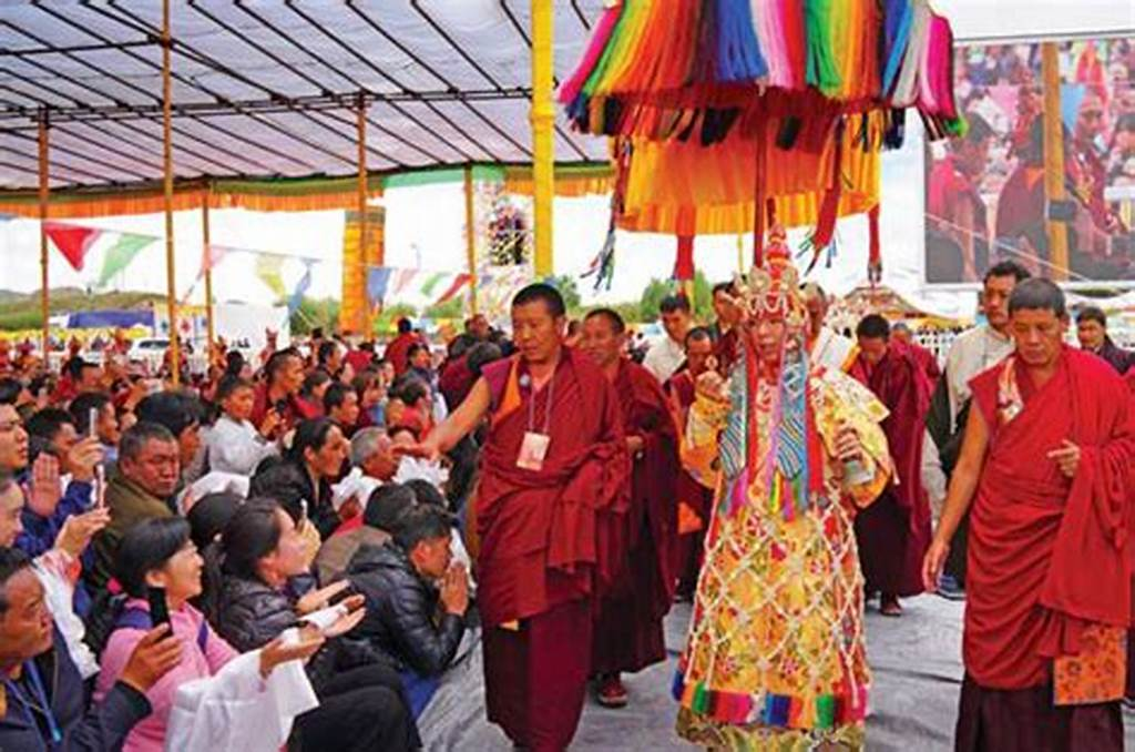 #The #11Th #Panchen #Lama #Surrounded #By #Monks #Gives #Blessings