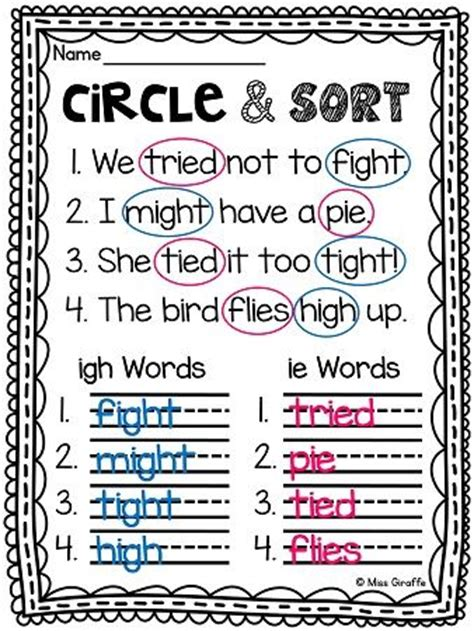 16 best images about phonics i igh ie y on