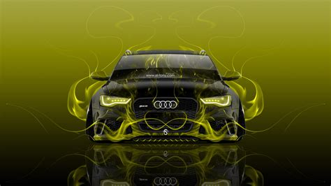 audi rs front fire abstract car  wallpapers el tony