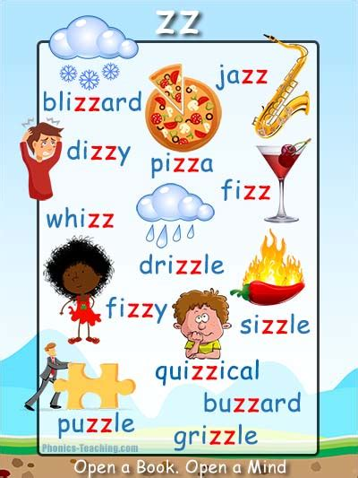 Ss Words Phonics Poster  Words With Zz In Them  Free & Printable