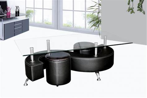 armoire basse bureau table basse avec poufs wendy verre et simili cuir noir