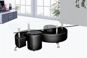 Table basse avec poufs wendy verre et simili cuir noir for Beautiful meuble pour lampe de salon 8 table basse avec poufs wendy verre et simili cuir noir