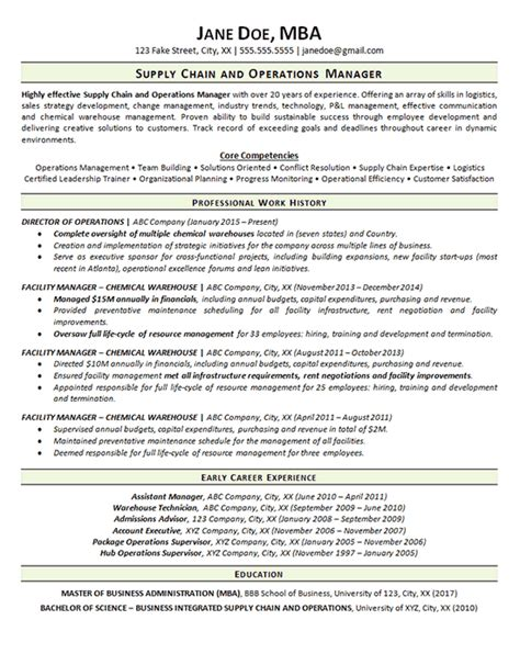 supply chain resume  operations manager