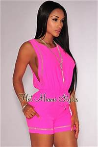 Neon Pink Open Sides Drawstring Romper