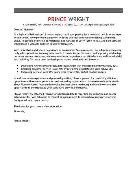 Application Letter For Car Dealership - Sales Consultant