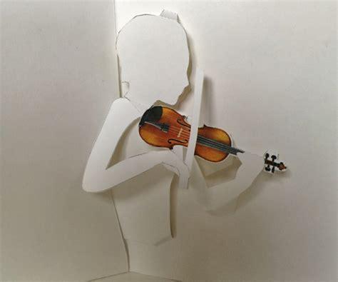 printable violin pop  card shows violinist bowing