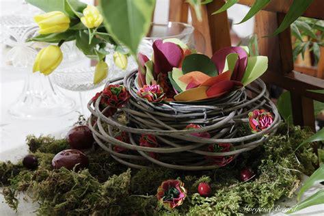 centre de table nature avec panier mousse  fleur en