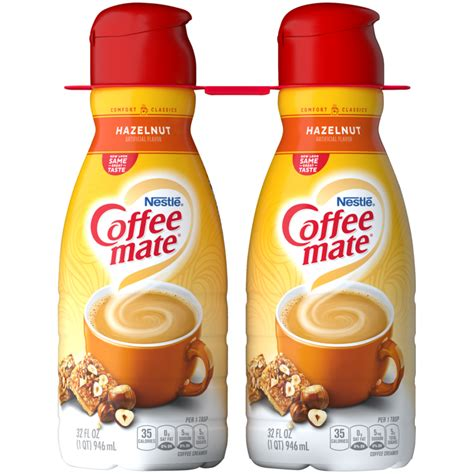 It has 15 calories and 1 gram of fat per tablespoon, plus a lengthy list of oddball ingredients including sucralose, acesulfame potassium, dipotassium phosphate and other unrecognizable words. Hazelnut Coffee Creamer   Liquid   Coffee mate®