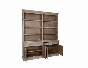 grand meuble bibliotheque bois ceruse avec placard pas chere With meuble bibliotheque grande hauteur